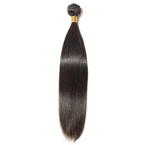 100% Human Hair Bundles Straight Unprocessed Virgin Brazilian Remy Human Hair Extensions #1B,Natural Black (20