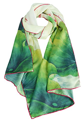 - ELEGNA Women 100% Silk Art Collection Scarves (Green Lotus)
