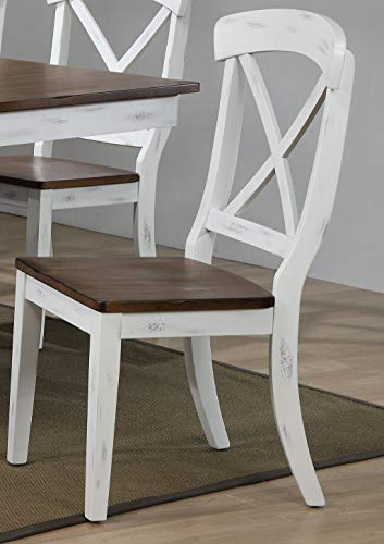 - Iconic Furniture Company CH60-DBN-DWT Dinning Chair, Distressed Cocoa Brown Cotton White