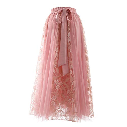 - Women's Lace Mesh A-Line Skirt Elastic High Waist Pleated Tulle Skirt Large Swing Flared Midi Long Length Tutu