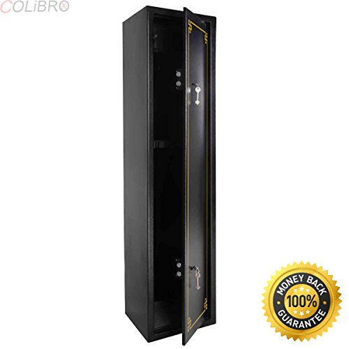 COLIBROX--2 Key 6 Gun Rifle Storage Cabinet Case Safe Rack Pistol Wall Shotgun Security. 2-point locking system lock for greater security;Individual lock for the ammo box. by COLIBROX