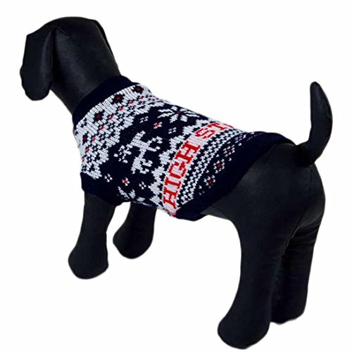 Cheap HP95(TM) Dog Clothes Pet Winter Woolen Sweater Knitwear Puppy Clothing Warm Snowflake Deer High Collar Coat (XS)