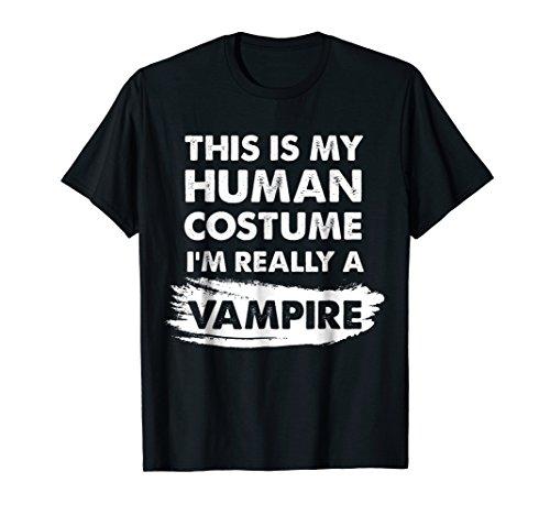 Mens This Is My Human Costume I'm Really a Vampire Shirt XL Black