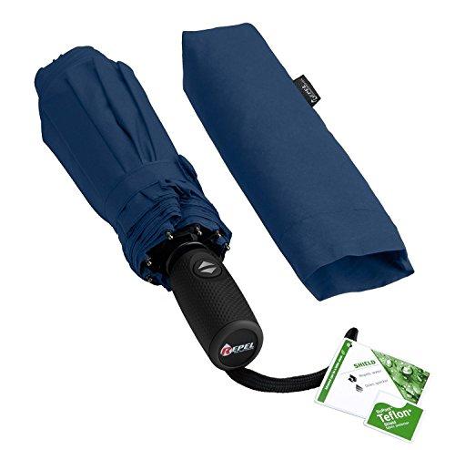 Repel Windproof Travel Umbrella with Teflon Coating (Navy Blue) by Repel Umbrella