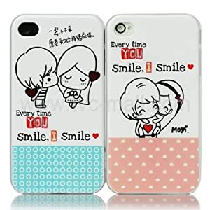 2 PCS Romantic Lovers Hard Plastic Case for Iphone 4 (Pink + Blue)