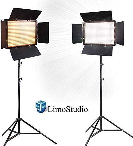 LimoStudio 2 Sets of LED Barn Door Light Panel with Light Stand Tripod, Dimmable Color Temperature Control by Color Filter Gel, Continuous Light Kit, AC Power Cord, AGG1684V3