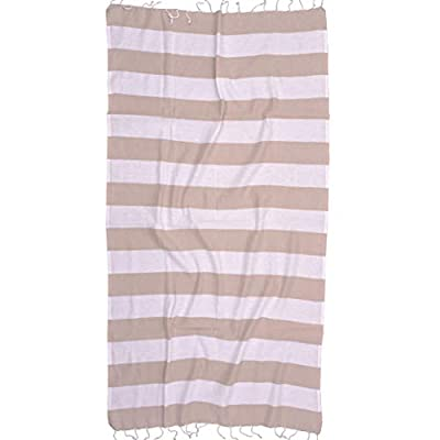 The Riviera Towel Company Biarritz Beige Striped Turkish Towel for Bath & Beach - Swimming Pool - Yoga Pilates - Picnic Blanket - Scarf Wrap - Peshtemal Hammam Fouta - 100% COTTON TURKISH TOWEL and beach towel imported from Turkey with versatile and stylish pattern. This Turkish towel is not like many of the other brands. This is a luxury towel at a great price. HIGHLY ABSORBENT & COMPACT thin, flat cotton weave that dries quickly, folds up very compact to fit in your beach bag or for travel. Because it is more compact, it takes up much less storage in your suitcase or linen closet. PERFECT FOR TRAVEL and can be used as a scarf, blanket, sarong, wrap, picnic blanket, table cloth, at the pool, beach, spa, fitness, yoga, pilates, boat or yacht. - bathroom-linens, bathroom, bath-towels - 41AOslARw5L. SS400  -
