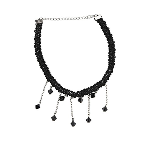 Napoo-Necklace Pendant Clearance Women Lace Tassel Choker Black Falling Beads Pendant Bib Collar Necklace Jewelry Chokers Garnet Pendants