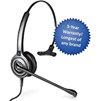 Leitner LH240 Single-Ear Corded Telephone Headset with 2.5mm Connector for Cordless Home Telephones – 5-Year Warranty