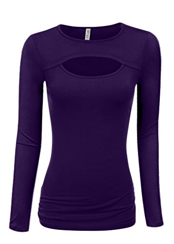 Womens Plum Top Purple Long Sleeve Shirt Purple Sexy Top Purple Keyhole Shirt (Size Small, Plum Long Sleeve)