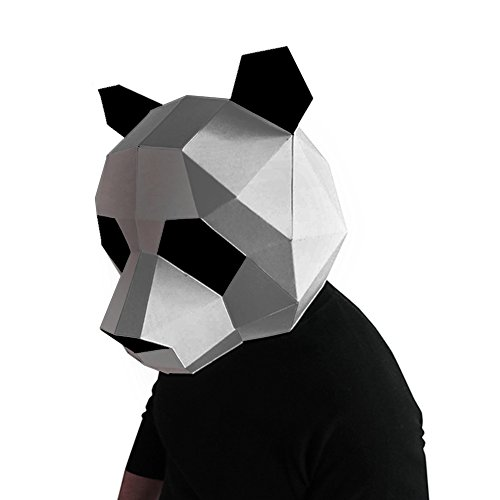 Geek-house Modern Aesthetics Low-Poly Mask DIY Paper Art Animal Series Headgear for Party Photography Decoration Panda Silver for Adult