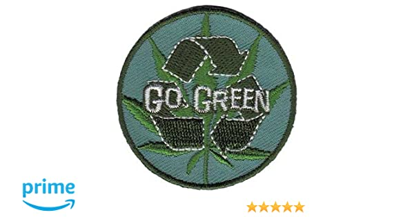 Go Green Pot Leaf With Recycle Symbol Embroidered Iron On Or Sew