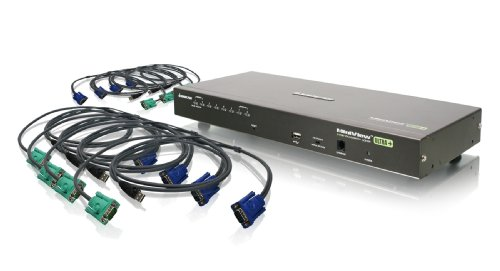 IOGEAR 8-Port USB PS/2 Combo VGA KVMP Switch with USB KVM Cables, GCS1808KITU