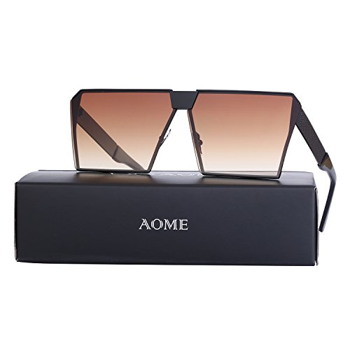 AOME Oversized Flat Top Sunglasses Square Metal Frame Mirrored Sunglasses (Black&Brown, - Lenses Contact Sunglass