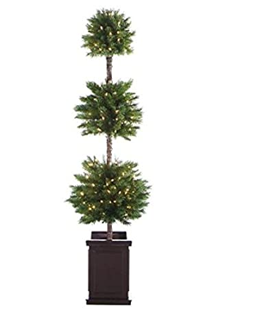 allstate pre lit potted triple ball artificial christmas topiary tree with clear lights 6 - Christmas Topiary