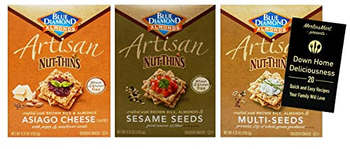 Blue Diamond Wheat-Free Gluten Free Artisan Nut-Thins Crackers 3 Flavor Variety Plus Recipe Booklet Bundle, 1 each: Asiago Cheese, Sesame Seeds, Multi-Seeds (4.25 Ounces)