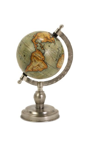 Library Executive Desk - CC Home Furnishings Small Nickel Finish Executive Style Desktop Globe 15