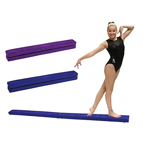 Portable Folding Gymnastics Balance Beam, Durable Horizontal Bar Home Gym Training Balance Beam. (blue, 2.4M)