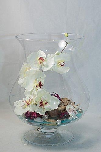 centro de mesa con orquídeas en un gran vaso - arreglo floral con ...