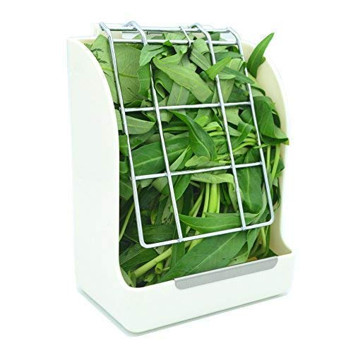 WYOK Hay Feeder/Rack Less Wasted Hay - Ideal for Rabbits/Guinea Pigs/Chinchillas/Hamsters - Keeps Grasses Clean and Fresh (White)