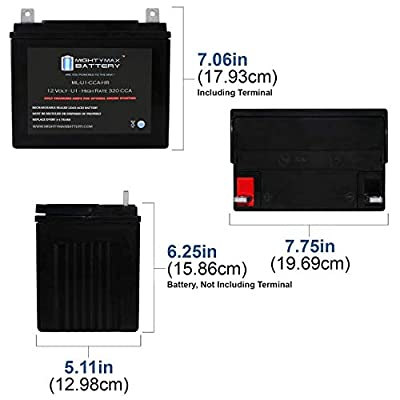 Mighty Max Battery ML-U1-CCAHR 12V 320CCA Battery for JohnDeere EZtrak Z225 Mower Brand Product