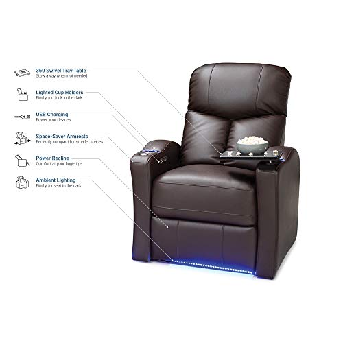 Seatcraft Raleigh Leather Gel Power Home Theater Recliner with Space Saver Armrests and USB Charging, Brown