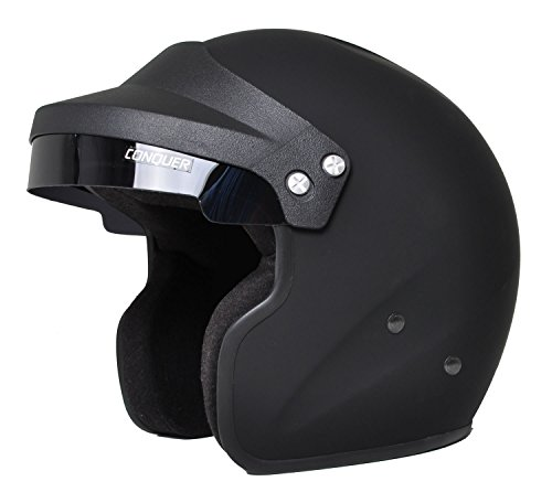 Blk Xl Helmet - Conquer Snell SA2015 Approved Open Face Racing Helmet