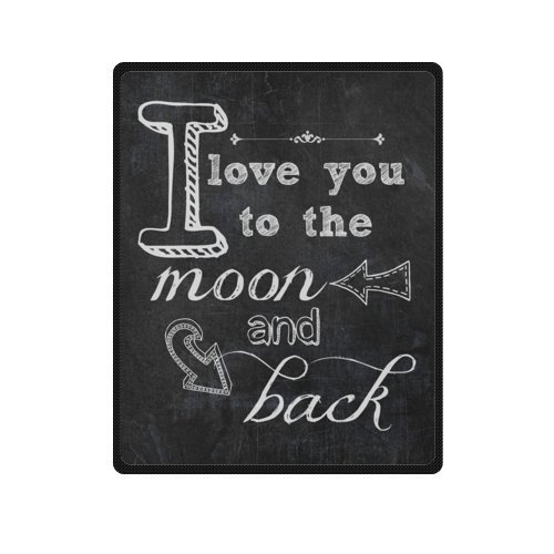 Romantic Valentine's Day Gift - I Love You Quotes Blanket, I Love You To the Moon And Back Soft Fleece Travel Blankets Throws - 40 by 50 Inch