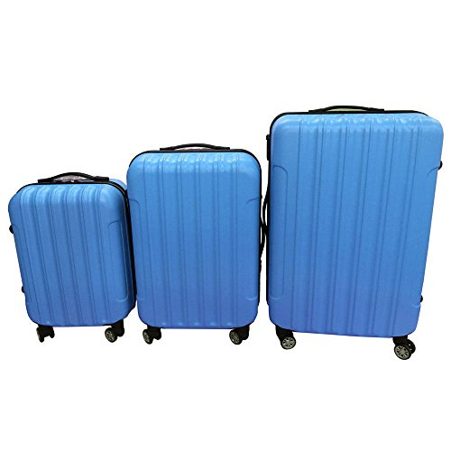 3PCS Luggage Travel Set Bag ABS Trolley Hard Shell Suitcase w/TSA lock Blue by Alitop