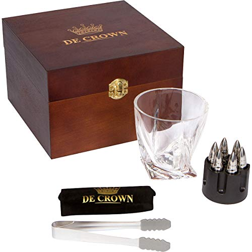 Fancy Twist Whiskey Glass and XL Bullet Stones Gift Set - Large 10oz Drinking Cup, 6 Chilling Rocks, Tongs, Revolver Base In Handmade Wooden Box | Cool Present for Men & Women, Military, Husband, Boss