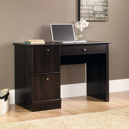 Computer Desk, Cinnamon Cherry Finish, Flip-down Molding, Keyboard Mouse Tray, Office Furniture, Lower Drawer, Laminate Finish, Wood, Bundle with Our Expert Guide with Tips for Home Arrangement