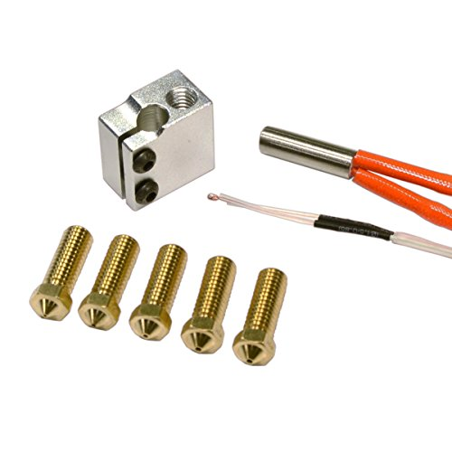 Nozzle Champion (RepRap Champion High Speed Print Pack with 5 x Nozzles, 12V Heater and Thermistor for RepRap 3D Printer)
