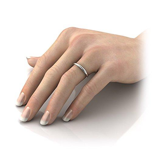 10K White Yellow Rose Gold 2mm Plain Flat Classic Wedding Band Rings Light Semi Comfort Fit