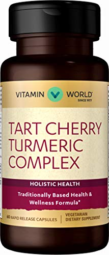 Vitamin World Tart Cherry Turmeric Complex | Anti-Inflammatory Joint Supplement and Antioxidant Support feat. Bioperine Black Pepper Extract, Vegetarian & Gluten Free, 60 Capsules