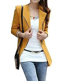 WSPLYSPJY Womens Lapel Solid Color Korean Zipper Slim Fit Blazer Outcoat