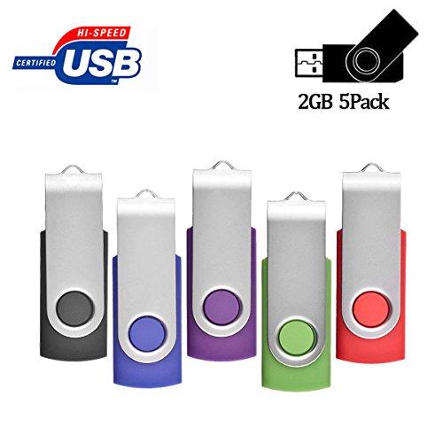 2GB USB Flash Drive 5 Pack Bulk USB Flash Stick Pen Drive Gig Stick Memory Stick ARETOP USB2.0 Pendrive Thumb Drives for Fold Date Storage (5 PCS - Mixed Colors: Black/Blue / Purple/Green / Red)