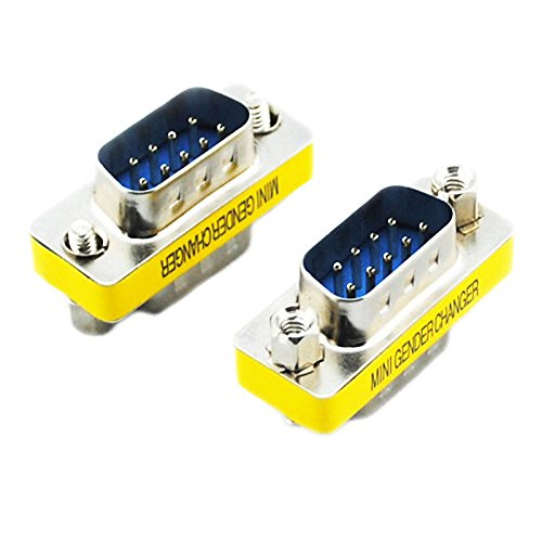 UXOXAS 20564 Serial RS232 DB9 9-Pin Male to Male Adapters (Silver & Yellow, 2 PCS)