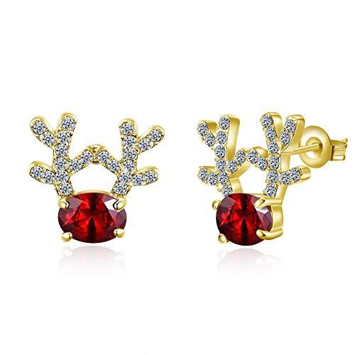 Christmas Ornaments Elk Earrings Deer Zircon Earrings Women's Earrings (Color : Gold)