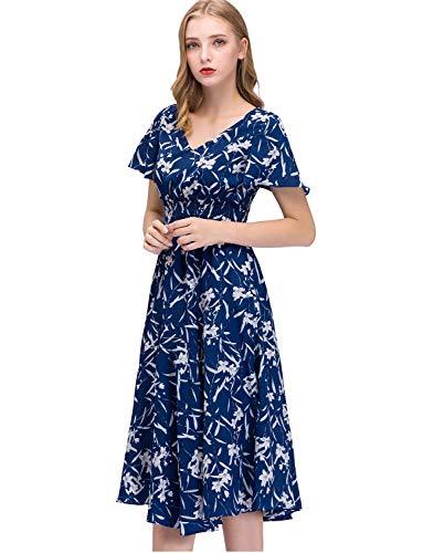 Bohemian Royal Scollo Corte Stampa Partito Little Da Spiaggia Maxi Gardenwed Maniche Elegante V Floreale Con Abiti Vestito Donna Flower Estivo Blue E4qTX