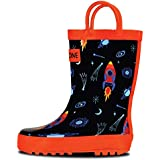 LONECONE Rain Boots with Easy-On Handles in Fun Patterns for Toddlers and Kids, Rocket Launch, Toddler 9