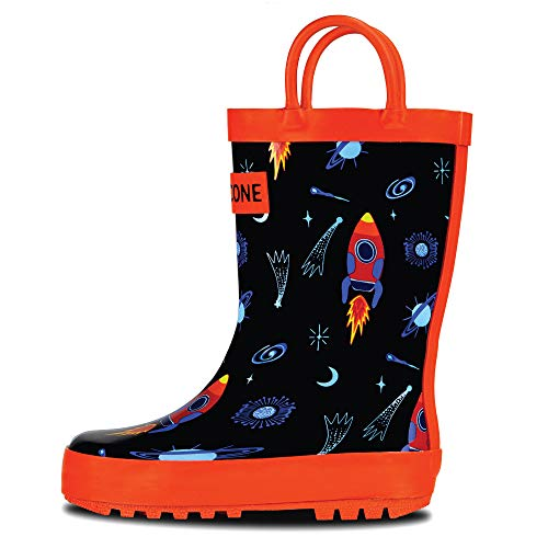 LONECONE Rain Boots with Easy-On Handles in Fun Patterns for Toddlers and Kids, Rocket Launch, 13 Little Kid