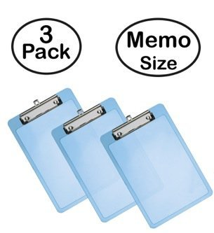 Acrimet Clipboard Memo Size Low Profile Clip (Blue Color) (Pack - 3)