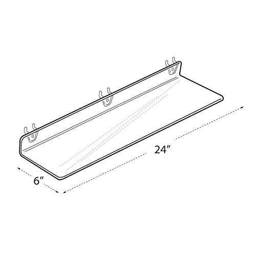 Count of 4 New Clear Acrylic Shelf for PEGBOARD and SLATWALL 24'' W x 2'' H x 6'' D