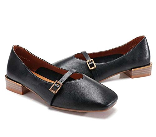 Ma Black Color Shoes Solid Of shoes Spring Shoes MHX Single Women's Shoes Buckle Sets New Grandma Leather wBqaTFxfO