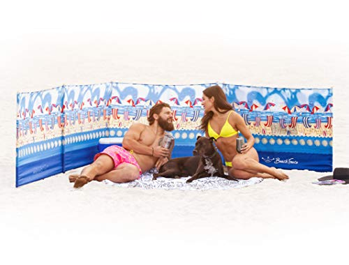 Beach Windscreen, Privacy Screen, Wind Blocker - Beach Scene, with Mallet and Carry Bag
