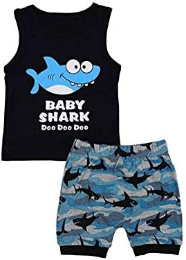 Summer Toddler Kid Baby Boy Carton Shark Outfit Top Vest Shorts 2PCS Set Sunsuit