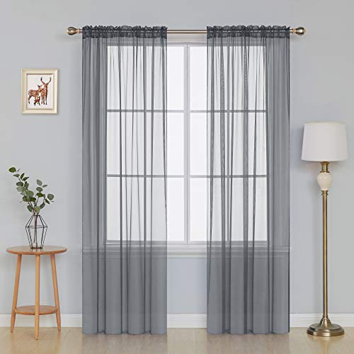 Deconovo Texture Sheer Voile Curtains Light Filtering Sheer Curtain Panels for Dining Room 52x84 Inch Grey 1 Pair