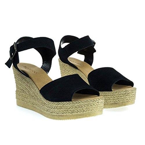 Sandale Compensée Compensée En Faux Espadrille En Plastique, Bout Ouvert Pour Femme Noir