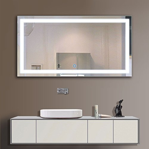 48 x 24 In Horizontal LED Bathroom Silvered Mirror with Touch Button - Bathroom Lightning Mirrors