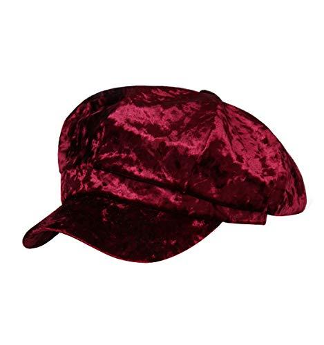 - Clecibor Velvet Newsboy Cap Autumn Winter Warm Thick Octagonal Cap Women Beret, Wine Red